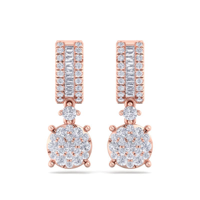 Earrings in rose gold with white diamonds of 1.25 ct in weight - HER DIAMONDS®