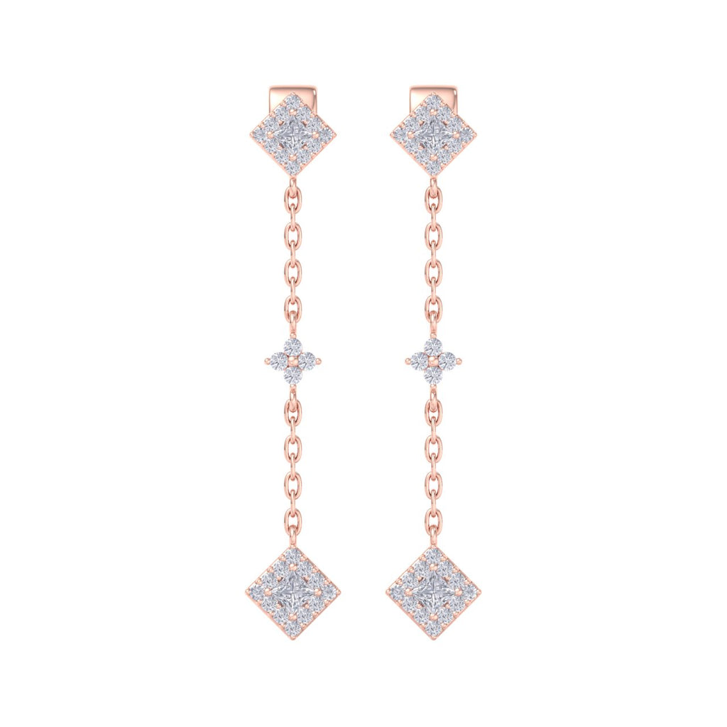 Drop earrings in rose gold with white diamonds of 0.53 ct in weight