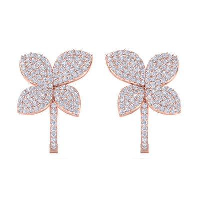 Flower french clip earrings in rose gold with white diamonds of 1.41 ct in weight