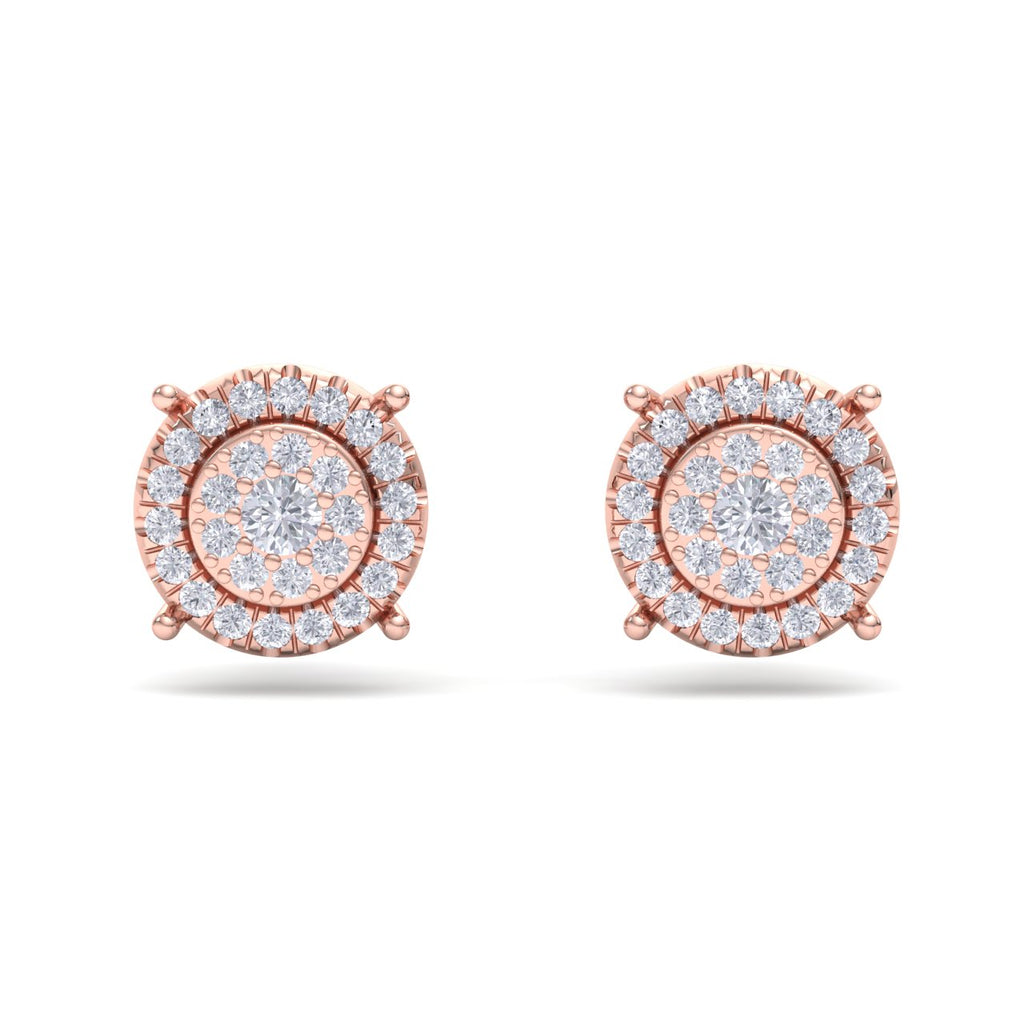 Stud earrings in rose gold with white diamonds of 0.45 ct in weight - HER DIAMONDS®
