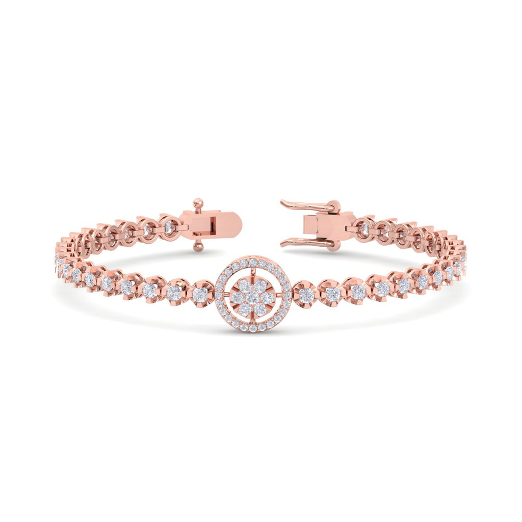 Bracelet in rose gold with white diamonds of 1.65 ct in weight - HER DIAMONDS®