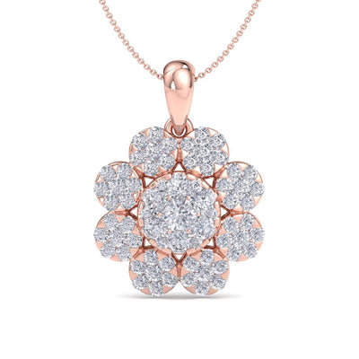 Flower shaped pendant in rose gold with white diamonds of 1.84 ct in weight - HER DIAMONDS®