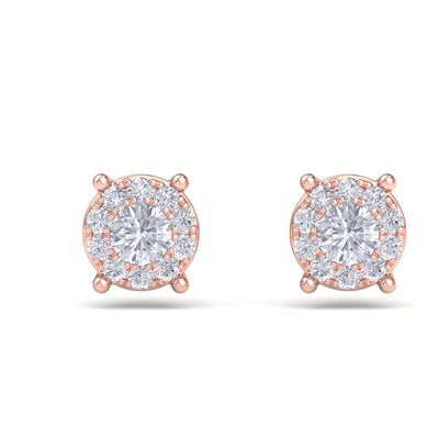 Solitaire stud earrings in rose gold with white diamonds of 0.23 ct in weight - HER DIAMONDS®