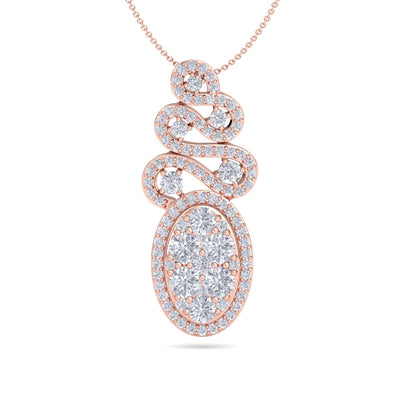 Long oval shaped pendant necklace in rose gold with white diamonds of 1.34 ct in weight - HER DIAMONDS®