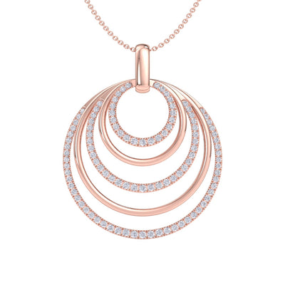 Pendant necklace with circles in rose gold with white diamonds of 3.12 ct in weight - HER DIAMONDS®