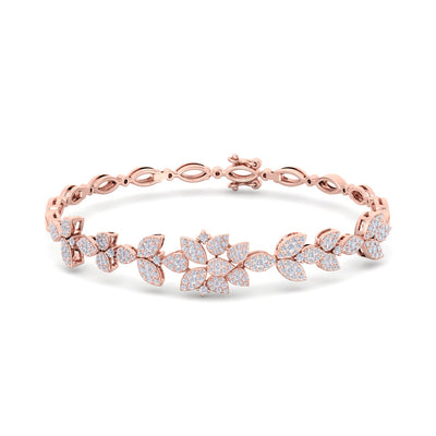 """The Garden"" bracelet in rose gold with white diamonds of 1.60 ct in weight - HER DIAMONDS®"