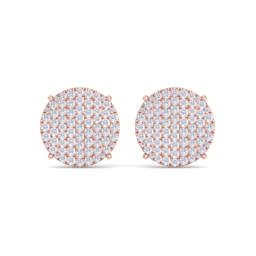 Round diamond stud earring with four-prong in rose gold with white diamonds of 2.95 ct in weight - HER DIAMONDS®