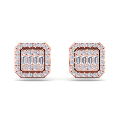 Stud earrings in rose gold with white diamonds of 0.42 ct in weight - HER DIAMONDS®