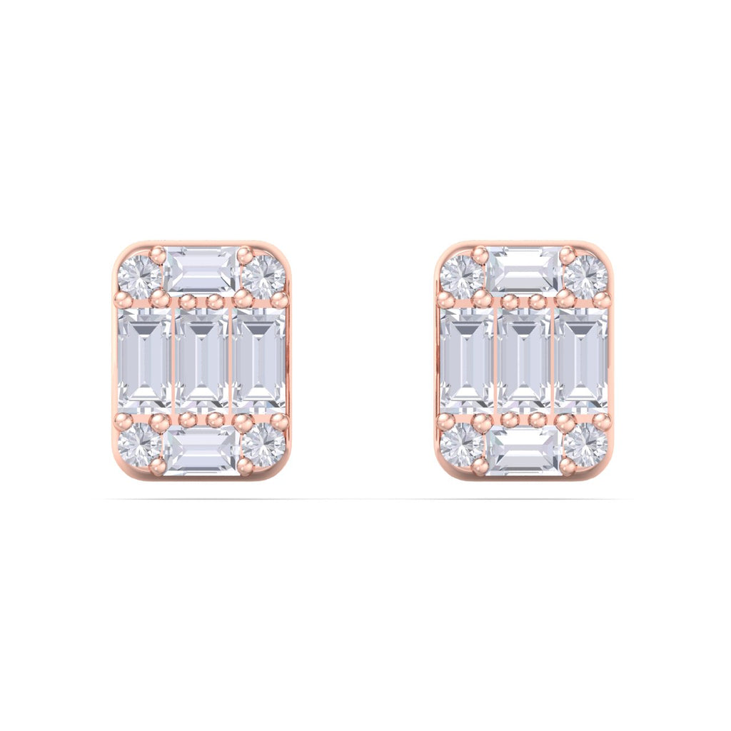 Baguette square earrings in rose gold with white diamonds of 0.87 ct in weight
