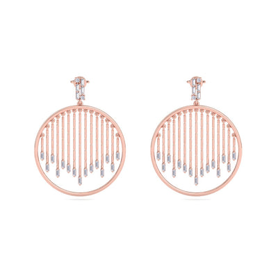 Monogram earrings in rose gold with white diamonds of 1.10 ct in weight - HER DIAMONDS®