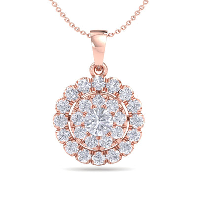 Round pendant necklace in rose gold with white diamonds of 0.71 ct in weight - HER DIAMONDS®