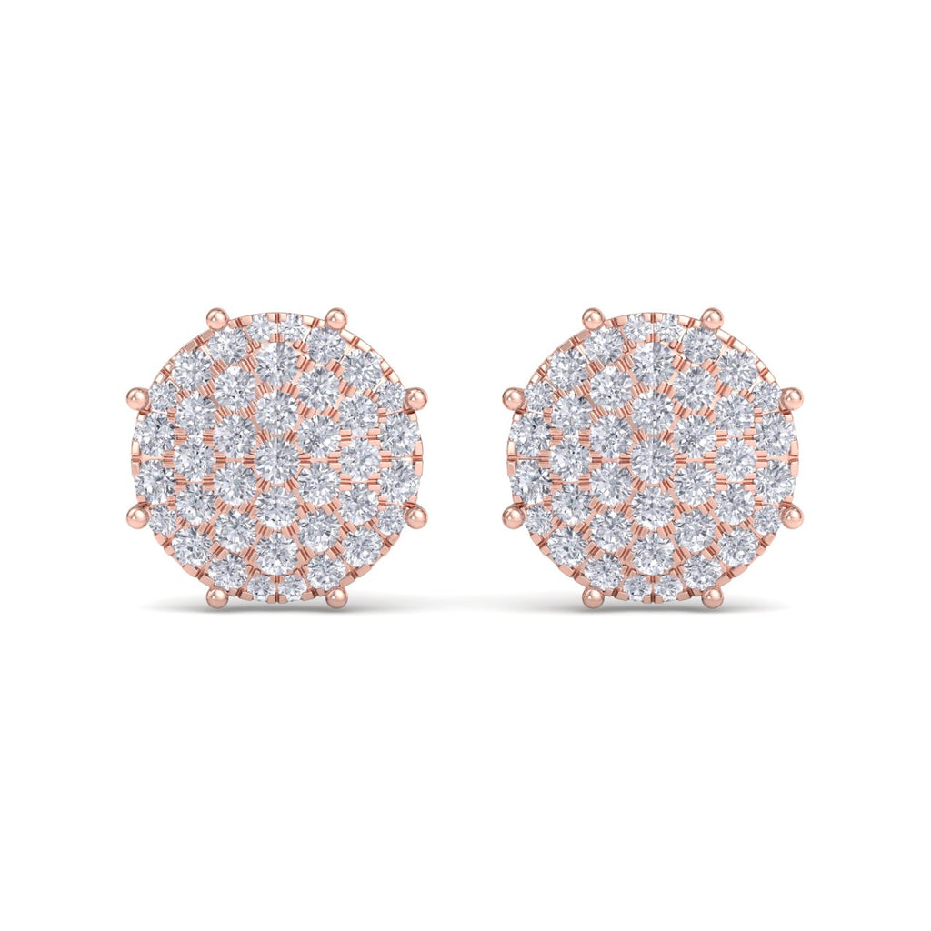 Round earrings with eight-prong in rose gold with white diamonds of 2.27 ct in weight - HER DIAMONDS®