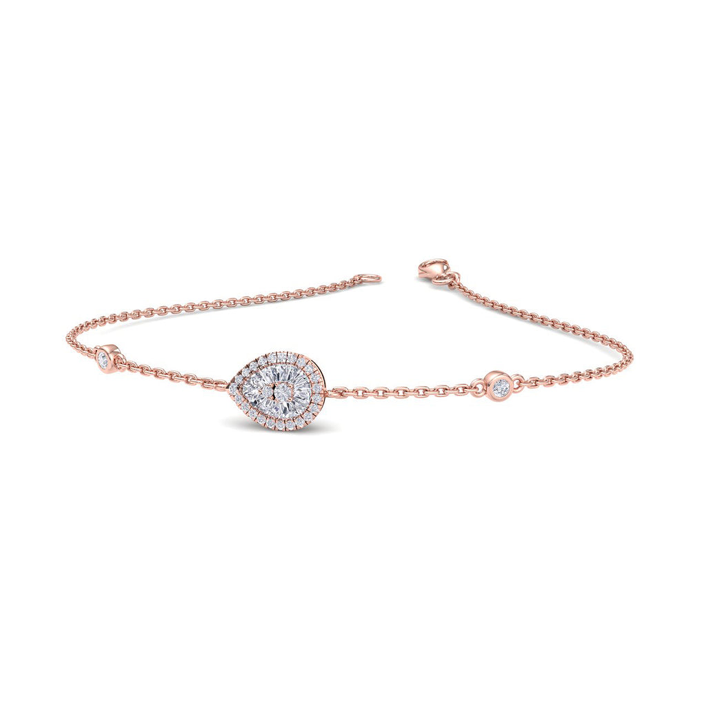 Pear shaped bracelet in rose gold with white diamonds of 0.29 ct in weight - HER DIAMONDS®