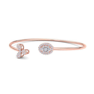 Flower shape bangle in rose gold with white diamonds of 0.49 ct in weight - HER DIAMONDS®