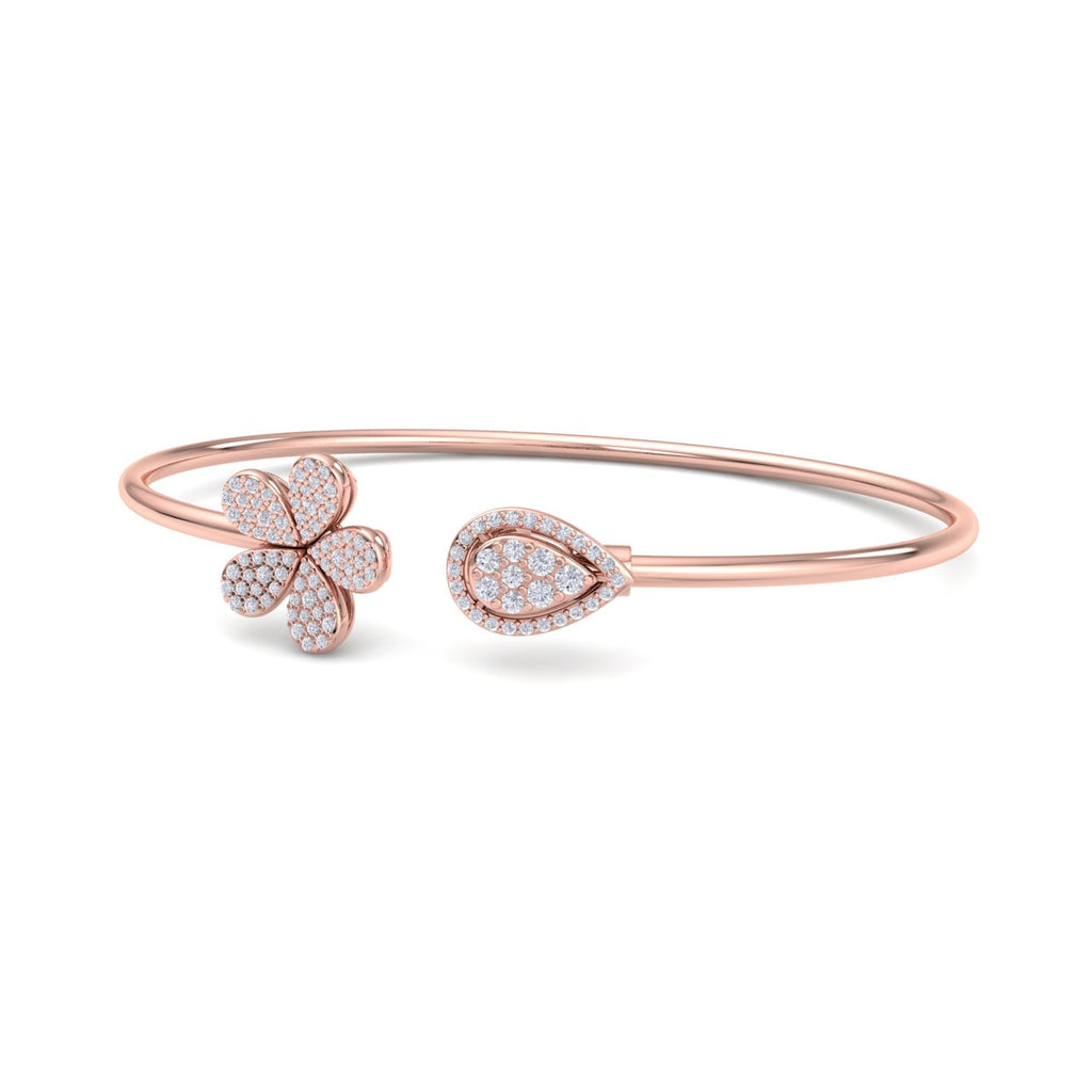 Bangle in rose gold with white diamonds of 0.49 ct in weight - HER DIAMONDS®
