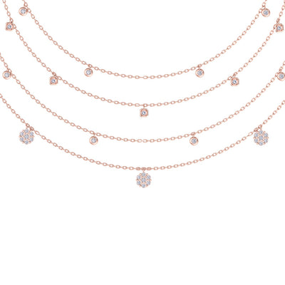 Multi-strand necklace in rose gold with white diamonds of 0.83 ct in weight - HER DIAMONDS®