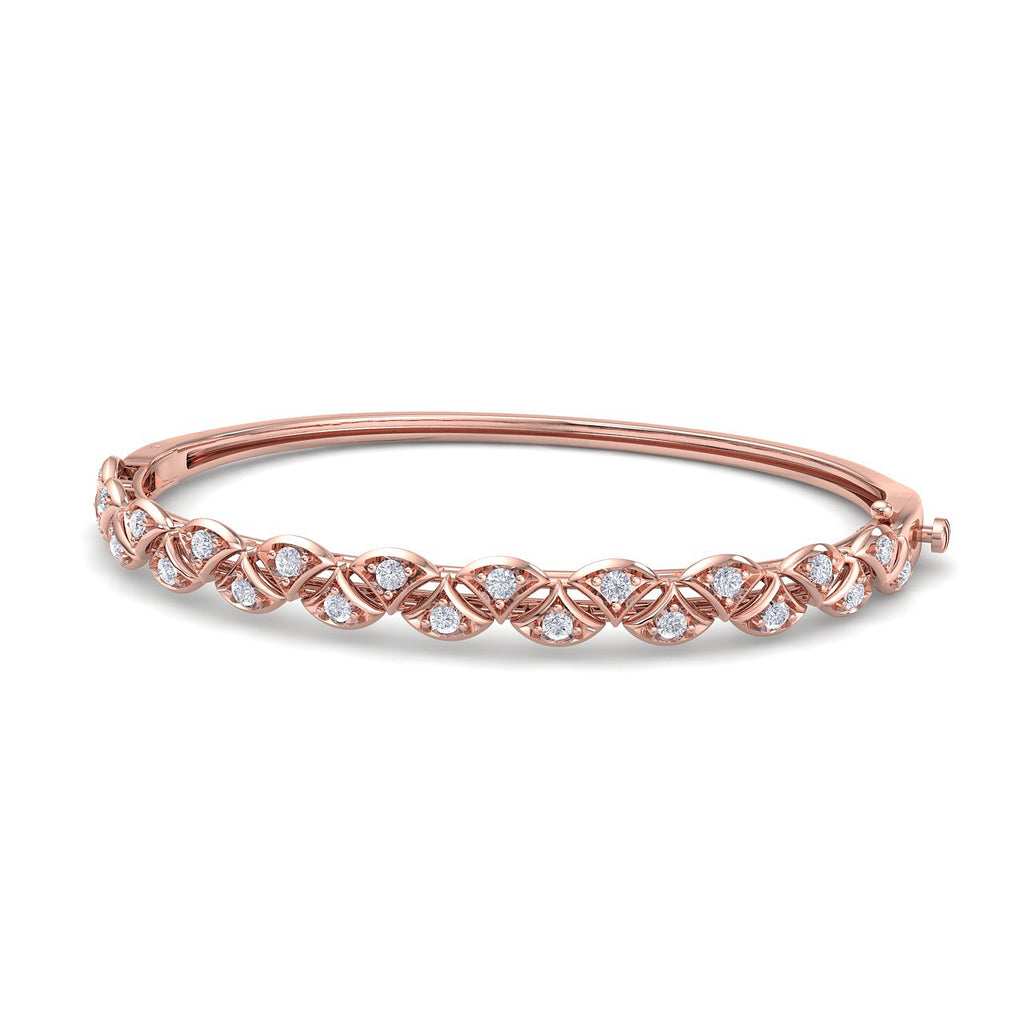 Romantic bangle in rose gold with white diamonds of 0.97 ct in weight - HER DIAMONDS®