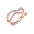 Ribbon ring in rose gold with white diamonds of 0.40 ct in weight