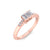 Baguette ring in rose gold with white diamonds of 0.11 ct in weight