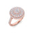 Sphere ring in rose gold with white diamonds of 0.85 ct in weight