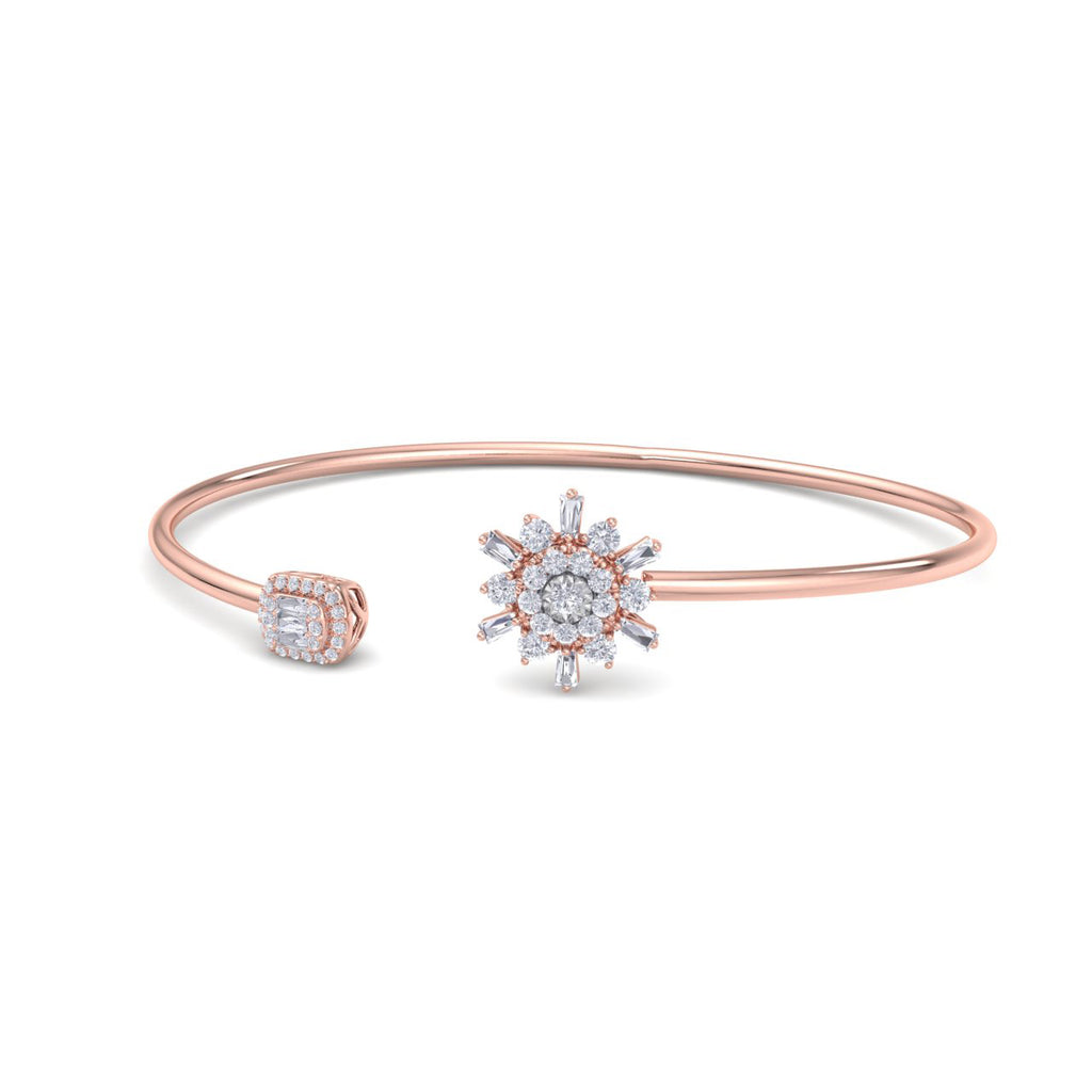 Snowflake shape bangle in rose gold with white diamonds of 0.40 ct in weight - HER DIAMONDS®