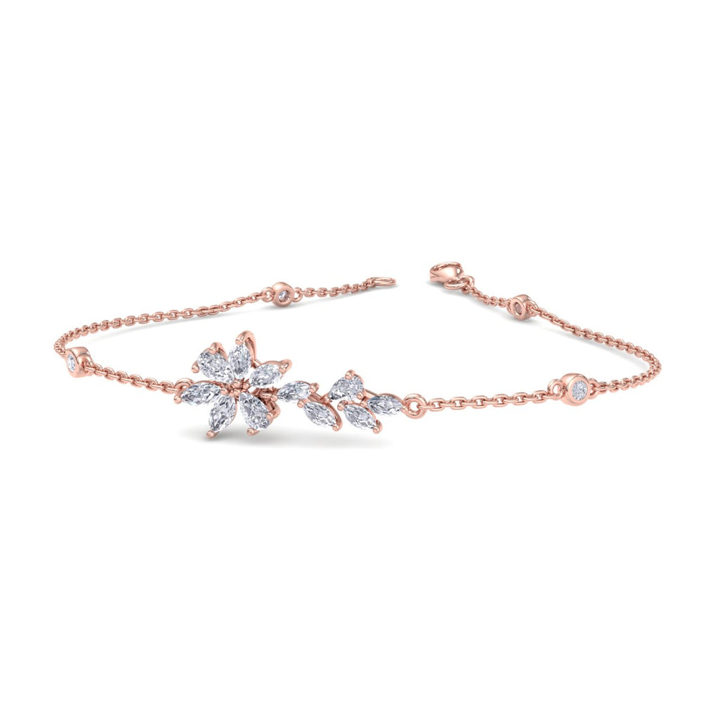 Flower bracelet in rose gold with white diamonds of 0.97 ct in weight - HER DIAMONDS®