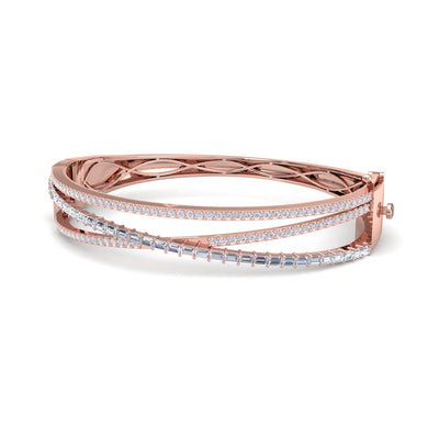 Classic bangle in rose gold with white diamonds of 1.86 ct in weight - HER DIAMONDS®