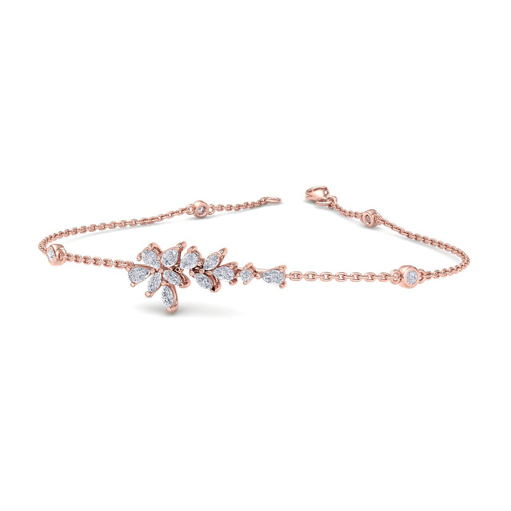 Flower shape bracelet in rose gold with white diamonds of 0.67 ct in weight - HER DIAMONDS®