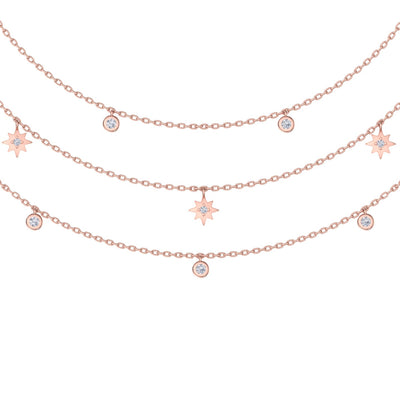 Multi-strand necklace with stars in rose gold with white diamonds of 0.27 ct in weight - HER DIAMONDS®