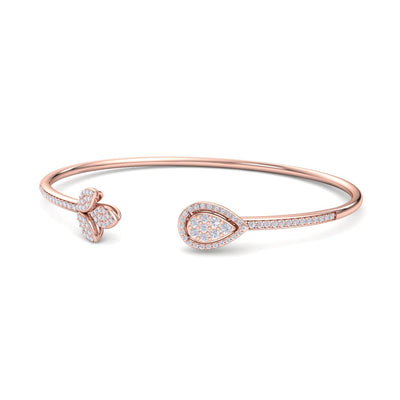 Bangle with tulip in rose gold white diamonds of 0.60 ct in weight - HER DIAMONDS®