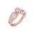 Vintage solitaire engagement ring in rose gold with white diamonds of 0.38 ct in weight