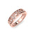 Ring with leaf pattern in rose gold with white diamonds of 0.13 ct in weight