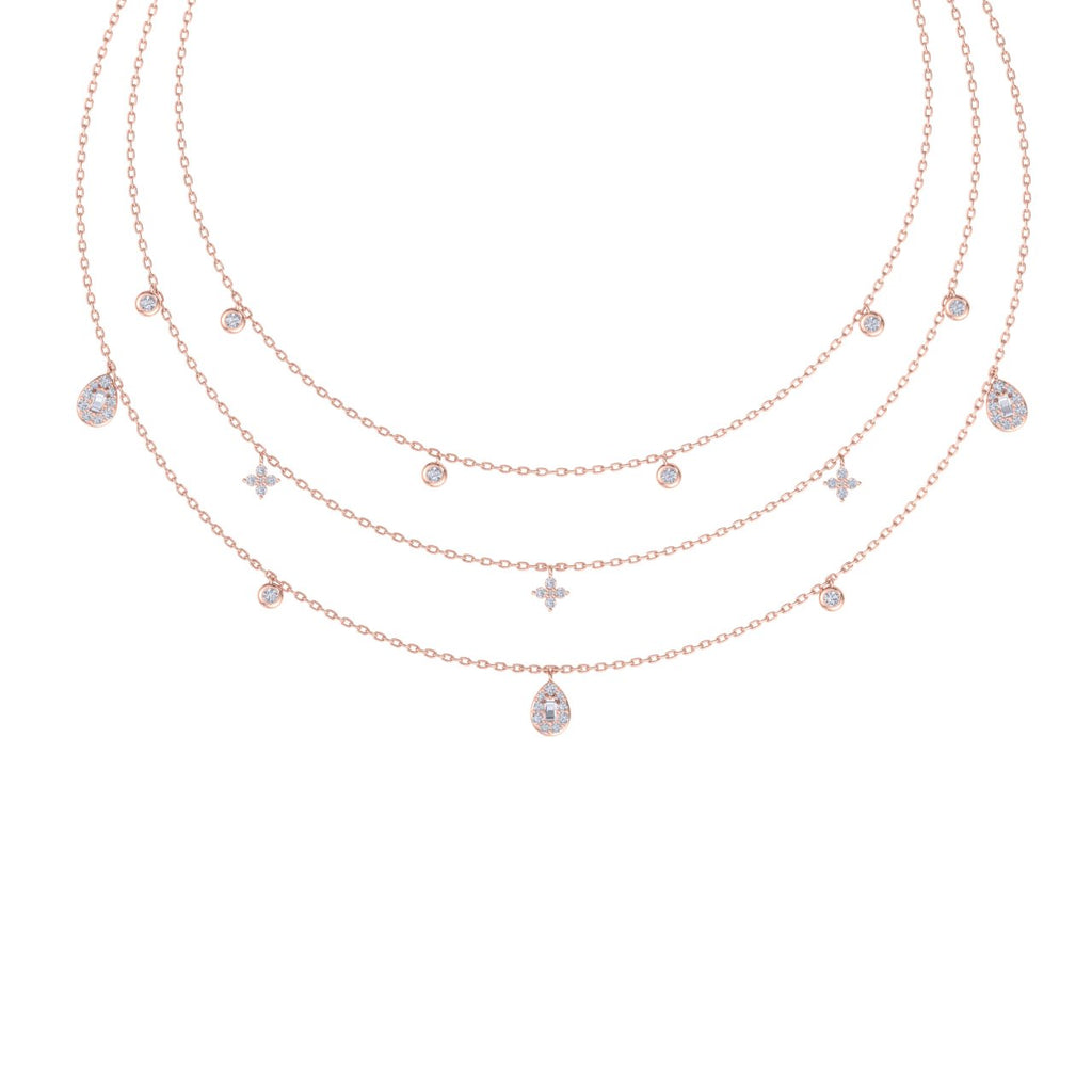 Multi-strand necklace in rose gold with white diamonds of 0.82 ct in weight - HER DIAMONDS®