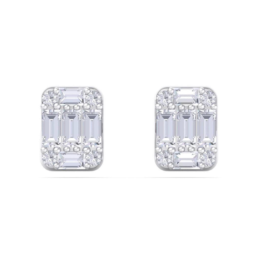 Baguette square earrings in white gold with white diamonds of 0.87 ct in weight