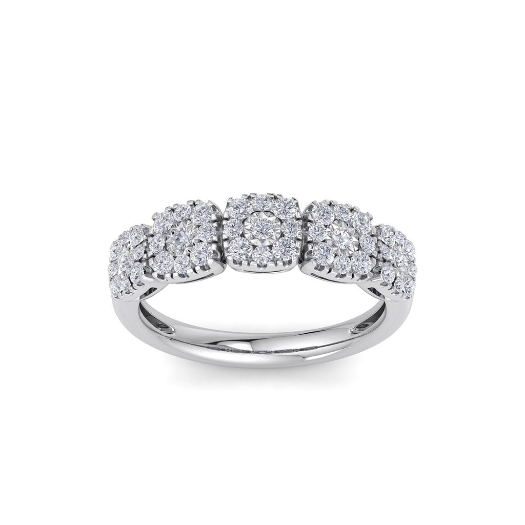 Ring with miracle plate setting in white gold with white diamonds of 0.51 ct in weight