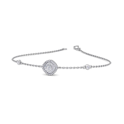 Square shape bracelet in white gold with white diamonds of 0.20 ct in weight - HER DIAMONDS®