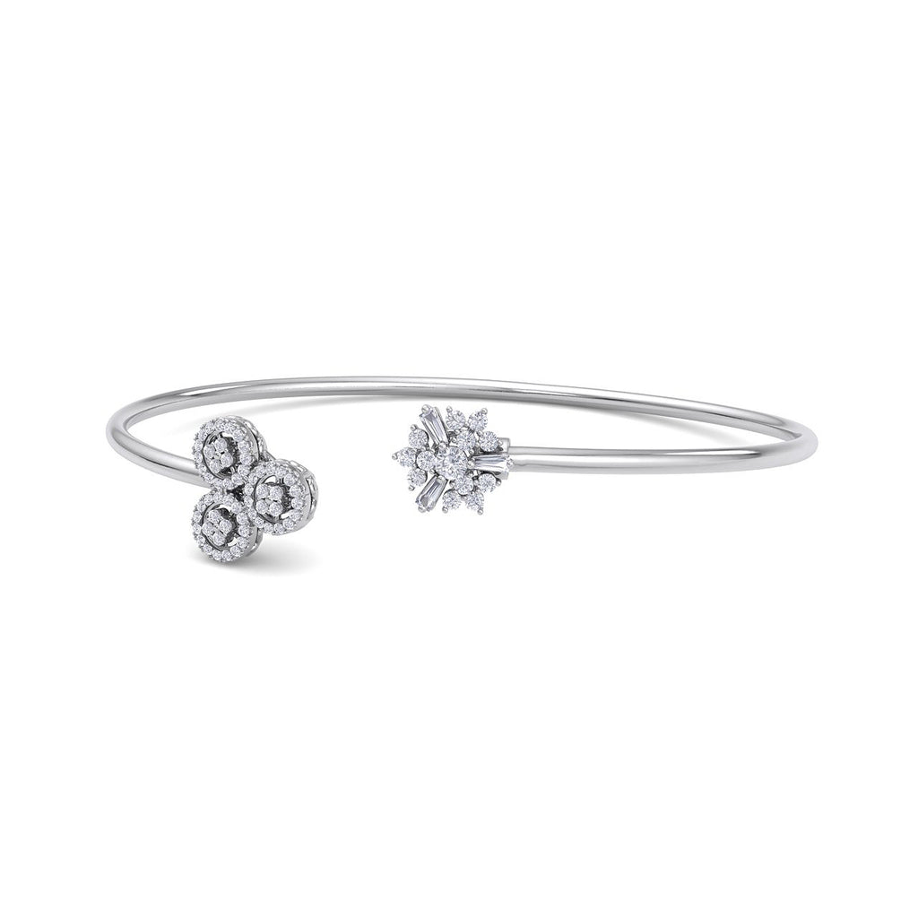 Snowflake shape bangle in white gold with white diamonds of 0.44 ct in weight - HER DIAMONDS®