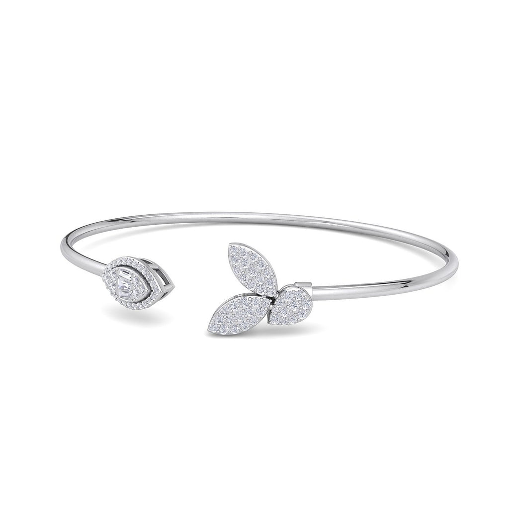 Leaf shape bangle in white gold with white diamonds of 0.54 ct in weight - HER DIAMONDS®