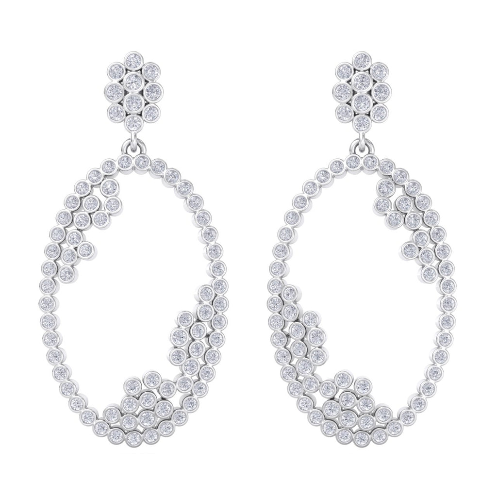 Chandelier earrings in white gold with white diamonds of 3.24 ct in weight