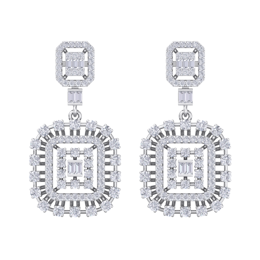 Drop earrings in white gold with white diamonds of 3.00 ct in weight