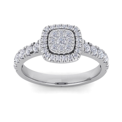 Halo Wedding ring in white gold with white diamonds of 0.75 ct in weight