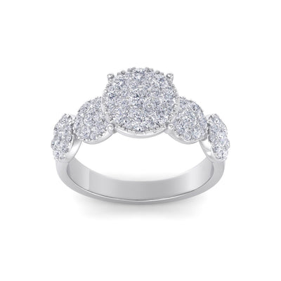 Bridal ring in white gold with white diamonds of 2.29 ct in weight