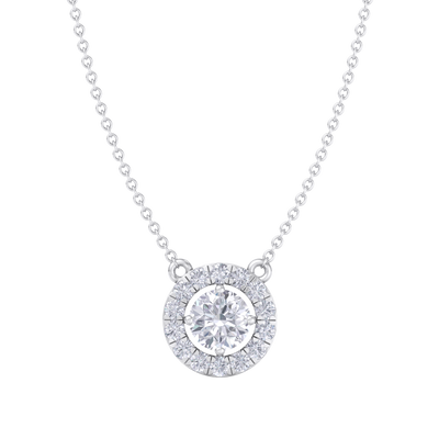 Classic Pendant in white gold with white diamonds of 1.42 ct in weight