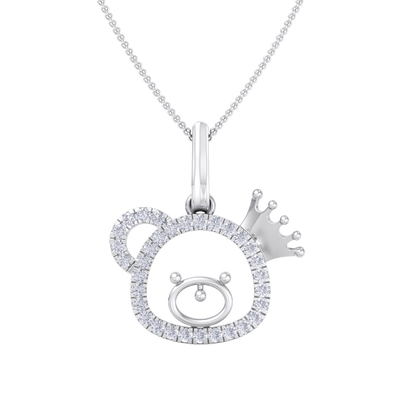 Cute Pendant in white gold with white diamonds of 0.58 ct in weight