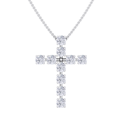 Diamond Cross Pendant in white gold with white diamonds of 1.10 ct in weight