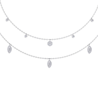 Multi-strand  necklace in white gold with white diamonds of 0.65 ct in weight