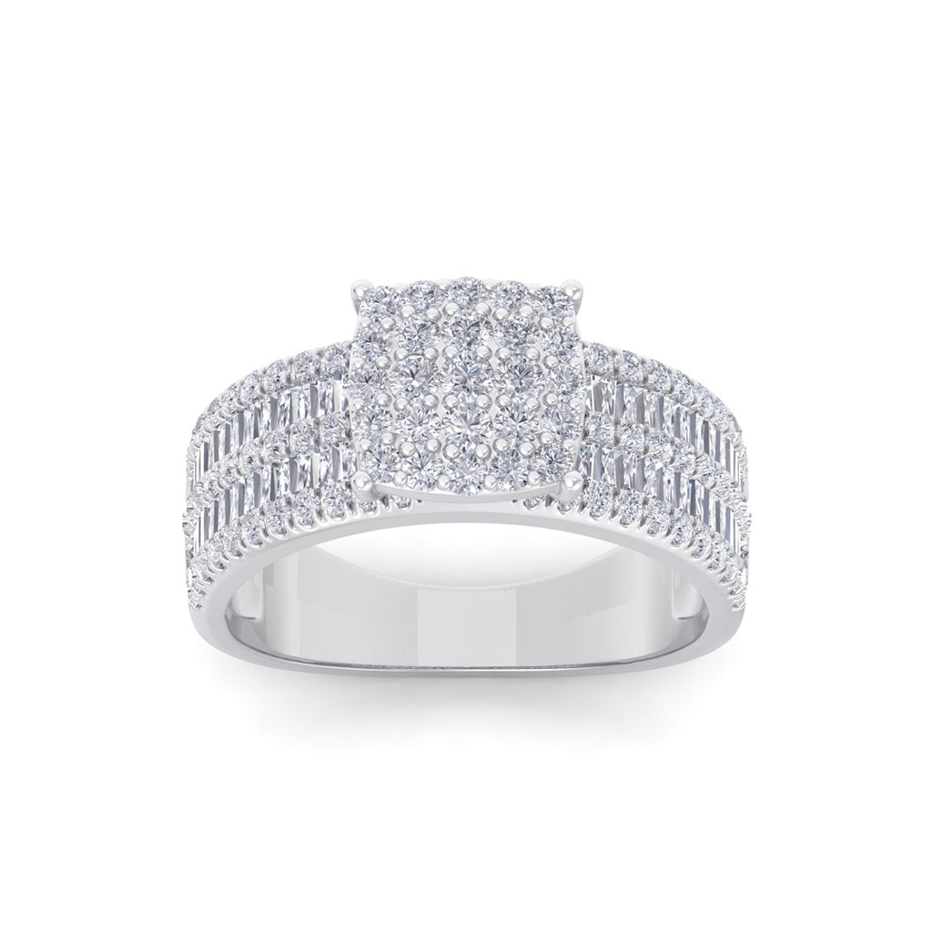 Ring in white gold with white diamonds of 1.15 ct in weight