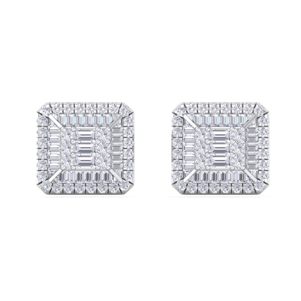 Square stud earrings in white gold with white diamonds of 0.88 ct in weight