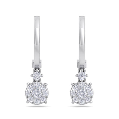 Elegant round drop earrings in white gold with white diamonds of 0.44 ct in weight - HER DIAMONDS®