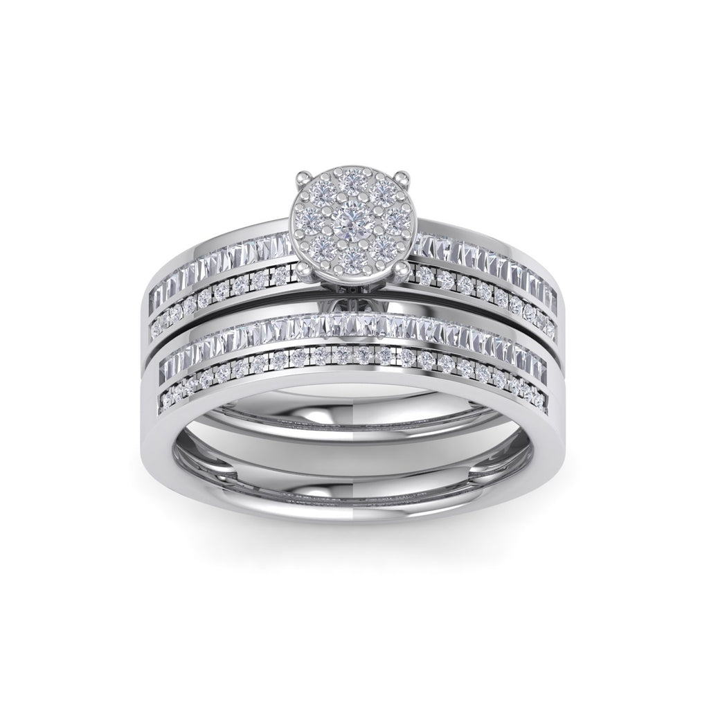 Bridal set in white gold with white diamonds of 0.76 ct in weight